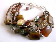 Multistrand bracelet.Women bracelet.Gemstone by Jewelry2Heart