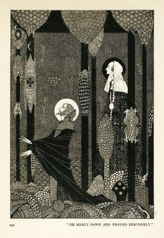 """22a.  """"He knelt down and prayed fervently.""""  --- THE MARSH KING'S DAUGHTER.  (p.256)    --- Harry Clarke Illustrations: Fairy Tales by Hans Christian Andersen"""