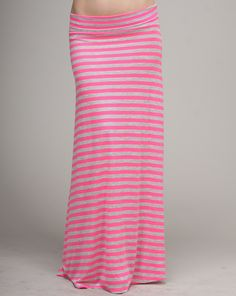 Deanne says - This trendy striped MAXI skirt is a hot item for the warmer temperatures. Pair it with a tank top and you're ready to to go. Wear this out for a day of shopping or to the beach.