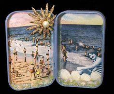 Altered tin - Lots of shells, beads, pearls, glitter and a vintage rhinestone pin. Wanda Eash AKA Craftymule, and 20