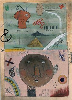 A la manera de Walter  Vasconcelos. Técnica mixta. Nerea Isasa . 1º Ciclo Diseño Gráfico. 2013