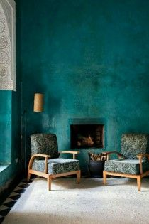 Home Decor Trends 2016 - Interior Design Trends 2016 Turquoise Room, Turquoise Bathroom, Bleu Turquoise, Vintage Turquoise, Gold Wall Art, Teal Walls, Green Walls, Teal Rooms, Green Chairs