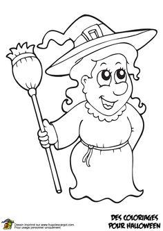 A colorier, une belle illustration de la gentille sorcière