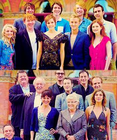 I love both photos, but I'm most in awe of the older cast below. Ralph Fiennes, Michael Gambon, Robbie Coltrane, Julie Walters, Jason Isaacs, Helen McCrory, David Thewlis, Warwick Davis, Natalia Tena, Nick Moran. Win.