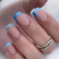 From IG: @vare_nails #naildesign#nails#bluenails#frenchnails