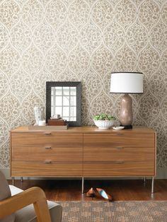 Adelaide Taupe Ogee Floral Wallpaper design by Brewster Home Fashions