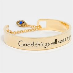 "Good Things Will Come My Way Cuff Bracelet NWT- Goldtone Evil Eye Lariat Cuff Bracelet "" "" Good Things Will Come My Way"" 0.4"" H x 2.25"" Diameter Jewelry Bracelets"