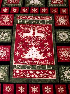 Christmas Pillows Placemats  Fabric Panel   Red Green Wreath Bear Sleigh Candle