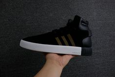 552ac3ff1b76 New Arrival Adidas Tubular Invader Strap Core Black Noir Gold White blanc  Youth Big Boys Sneakers