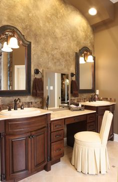 "Hockmans Bathroom Remodel , This bathroom was transformed into the ""Dream Bathroom."" It includes a huge walk-in shower, a washer and dryer in the huge walk-in closet, the bathroom is even complete with a coffee bar!, Does it make you want to do your make up? The beautiful vanity for Sherry.   , Bathrooms Design Dream Bathrooms, Beautiful Bathrooms, Master Bathrooms, Small Bathrooms, Closet Wall, Closet Vanity, Room Closet, Vanity Seat, Vanities"