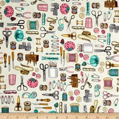 Cute as a Button Everything Sewing Eggshell from @fabricdotcom  Designed by Dan Morris for Quilting Treasures, this cotton print collection features classic sewing themes with a vintage feel. Perfect for quilting, apparel, and home decor accents. Colors include beige, aqua, brown, grey, and pink.