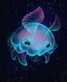 ArtStation - Biscuit - The Elusive Deep Sea Jelly Bun, Natalie Russo Mythical Sea Creatures, Sea Creatures Drawing, Cute Fantasy Creatures, Deep Sea Creatures, Creature Drawings, Mythological Creatures, Sea Illustration, Beast Creature, Scary Art