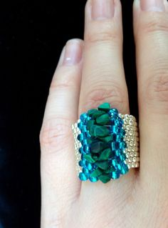 Striking Malachite Ring Malachite Beaded Jewelry Wide Ring Silver Ring Peyote Stitch Green Ring Gemstone Ring All sizes Raw Stone Ring Handmade Rings, Handmade Jewelry, Unique Jewelry, Tassel Jewelry, Beaded Jewelry, Beaded Rings, Beaded Bracelets, How To Make Rings, Chakra Jewelry