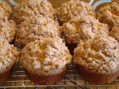 Pumpkin muffins with streusel topping. Made these but used a yellow cake mix and took out the flour and baking powder, etc. and added some water because it seemed too thick. They came out perfect! :)