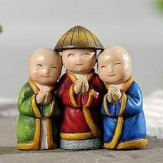 Three Monks www.teeliesfairygarden.com These three monks will surely be loved by your fairies and gnomes. They are very calm and friendly people that will spread peace and harmony in your fairy garden. #fairymonks