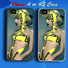 Lady Gaga Police Line Custom iPhone 4 or 4S Case Cover