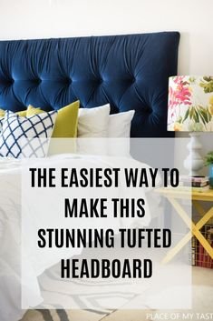 I will show you how to make an easy DIY tufted headboard. Have you ever wondered how to make those deep, diamond tufted headboards? Bedroom Furniture, Diy Furniture, Bedroom Decor, Furniture Design, Building Furniture, Furniture Movers, Furniture Plans, Furniture Making, Furniture Makeover