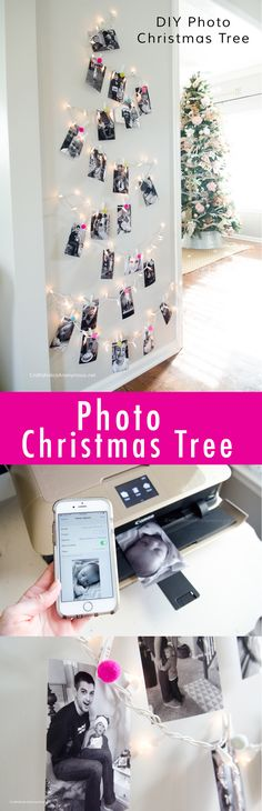Photo Christmas Tree using twinkle lights and felt balls. Perfect DIY Christmas decor idea for a hallway!