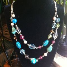 Multicolor stonelook and crystal bead necklace/set Multicolor stonelook bead and crystal pearl necklace earrings nwt Jewelry Necklaces