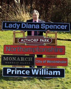 Neil Booth of Stafford Railwayana Auctions poses with a selection of locomotive name plates including Lady Diana Spencer Prince William and the...