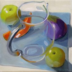 """Daily Paintworks - """"Pitcher and Fruit"""" - Original Fine Art for Sale - © Robin Rosenthal"""