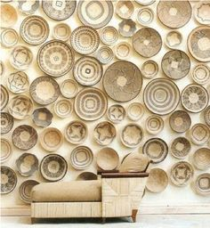 South African interior design wall by Stephen Falcke - using African woven baskets Hat Decoration, Decoration Inspiration, Interior Inspiration, Safari Decorations, Inspiration Wall, African Interior Design, Modern Baskets, Accent Wall Designs, Deco Originale
