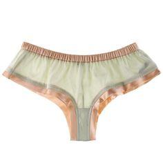 La Fee Verte Spring/Summer Silk short ($22) ❤ liked on Polyvore featuring intimates, panties, underwear, lingerie, undies, women, lingerie panty, green panties, la fée verte and green lingerie
