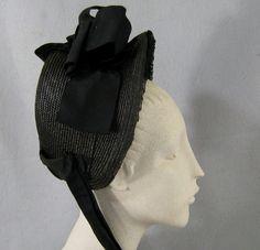 Antique Victorian Straw Mourning Bonnet     c.1880