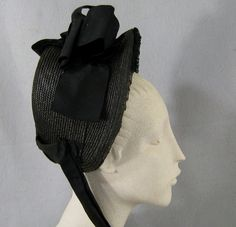 Antique Victorian Straw Mourning Bonnet c.1880