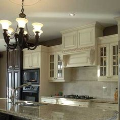 French country style white kitchen cabinets- Opt 1- white cabinets, light counters, dark base for island?
