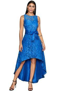 4ca0f2a87dc Royal Blue Sleeveless Lace Overlay Bow Sash Her Fashion Party Dress   womensfashion  dresses