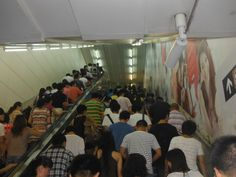 A very crowded subway in Hong Kong, China. This is an average day in the subway. anntardiffphotography.blogspot.com