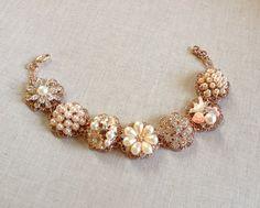 Rose gold pearl rhinestone bracelet vintage by ChicMaddiesBoutique