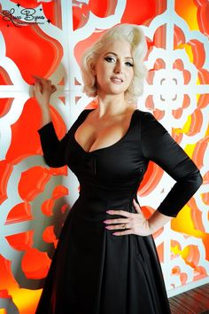 Pinup Couture Sophia Dress in Black solid Meredith Satin