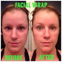 Facial wrap before and after. The facial wrap plus exfoliating peel = affordable at home facials! Love this!