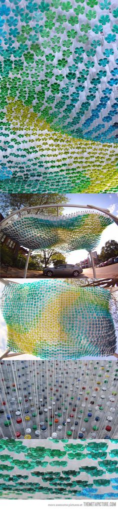 This sculpture is made out of 1,581 soda bottles…each of the bottles are colored differently at the bottom. This sculpture is very neat and interesting, very unique. Is this art? The way the bottle are placed it looks like a wave. Zoe Harris