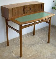 Vintage and Retro Writing Desks, An Alan Peters Writing Desk. A walnut writing desk made by Alan Peters of Bovey Tracey as a commission for a Christmas present. We have a copy of a card sent to the purchasor by Alan Peters refering to the desk. Writing Desk, Desks, Dining Bench, Tables, Retro, Antiques, Furniture, Vintage, Home Decor