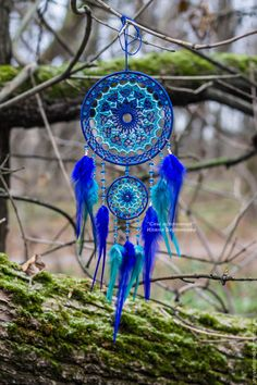I Love Blue Dream Catchers Dream Catcher Mandala, Blue Dream Catcher, Dream Catcher Mobile, Dream Catcher Tattoo, Bohemian Style Home, Boho, Bohemian Decor, Indian Arts And Crafts, Crochet Dreamcatcher