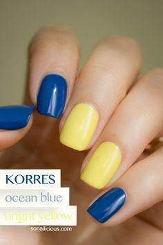 Blue nails - Korres Ocean Blue. Click for more info. #korres #nailpolish