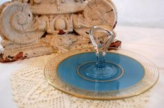 Vintage Serving Plate Vintage Blue and Gold by TheEclecticInterior, $18.00