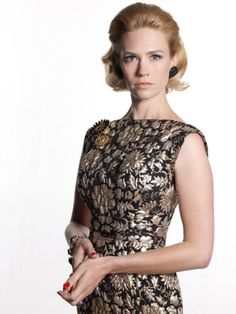 Betty Francis (Mad Men) wearing a brocade dress similar to Patsy's
