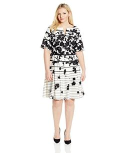 b780435a046 Julian Taylor Womens PlusSize Floral Printed Fit and Flare Dress IvoryBlack  16W   You can get