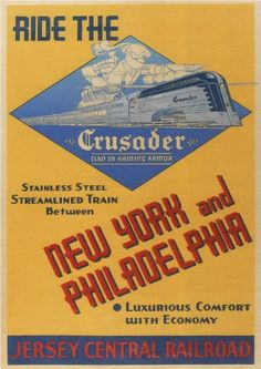 "Jersey Central Railroad - ride the ""Crusader"" - New York and Philadelphia - 1943 -"
