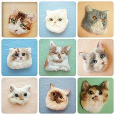 まだ猫の日だ!今まで作った猫の作品たち。 #羊毛フェルト #ブローチ #ねこ #イラスト #ハンドメイド #アート #felt #broach #cat #handmade #drawing #ねこの日 #猫の日 #ねこブローチ #ブローチ風羊毛フェルト絵