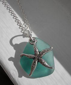 Sea glass necklace Aqua Teal Sea glass Sea by TheTiffanyBlueShop, $25.00