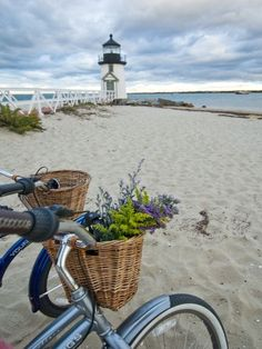 I think that a Nantucket bike basket will greatly enhance your bike ride to the beach! The baskets are gorgeous and look so handsome on Beach Cruisers. Photo Via Nantucket . Read moreNantucket Bike Baskets -Cruising the Beach in Style Nantucket Bike Basket, Brant Point Lighthouse, Beacon Of Light, Jolie Photo, Beach Cottages, Cape Cod, New England, Seaside, Beautiful Places