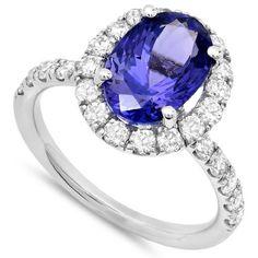 3.30 Carat Tanzanite & Diamond Ring - Tanzanite Jewelry- Anniversary Rings - Promise - Engagement Rings for Women - Online - Free Shipping