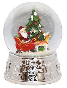 snow globes are enchanting and often times  hypnotic works of art. For this reason, they have found a special place in  my heart and home decor. One of my favorite charming yet whimsical cool  snow globes.      20075 Snow globe Christmas Tree Santa Silver Base music box, 5.5 inch height