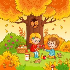 Art Drawings For Kids, Drawing For Kids, Cartoon Drawings, Easy Drawings, Art For Kids, Art Activities For Toddlers, Autumn Activities, Cartoon Clip, Cartoon Styles