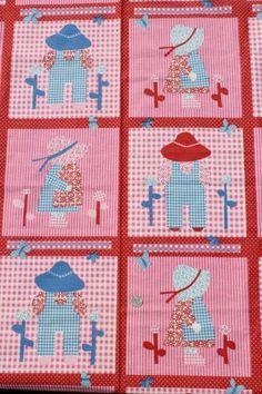 Waverly Hoe-Down print cotton, Sunbonnet Sue & Sam cheater quilt decorator fabric